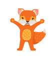 cute orange fox character standing with hands up vector image