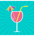 Pink cocktail glass with drinking straw umbrella vector image