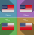 Flags USA Set of colors flat design and long vector image