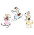 Pretty doodle sketches of brides vector image vector image