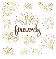 Hand drawn colorful fireworks on white background vector image