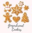 set of gingerbread cookies vector image