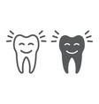 smiling tooth line and glyph icon stomatology vector image