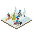Winter resort holidays ski snowboard sled vector image