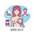 breast cancer with medical treatment to care the vector image