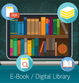 Laptop and books E-Book and Digital Library vector image