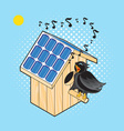 Starling and Nesting Box with solar panel vector image