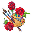 artists palette with paints brushes and roses vector image