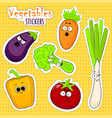 cartoon vegetable cute characters face stickers vector image