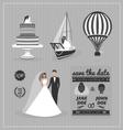 Set of wedding design elements vector image
