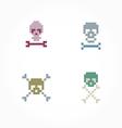Set pixel skull vector image