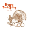 Thanksgiving traditional turkey for greeting card vector image