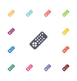 tv remote flat icons set vector image