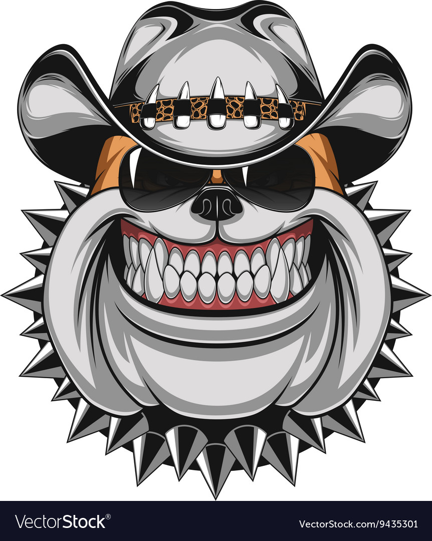 Bulldog in a cowboy hat vector