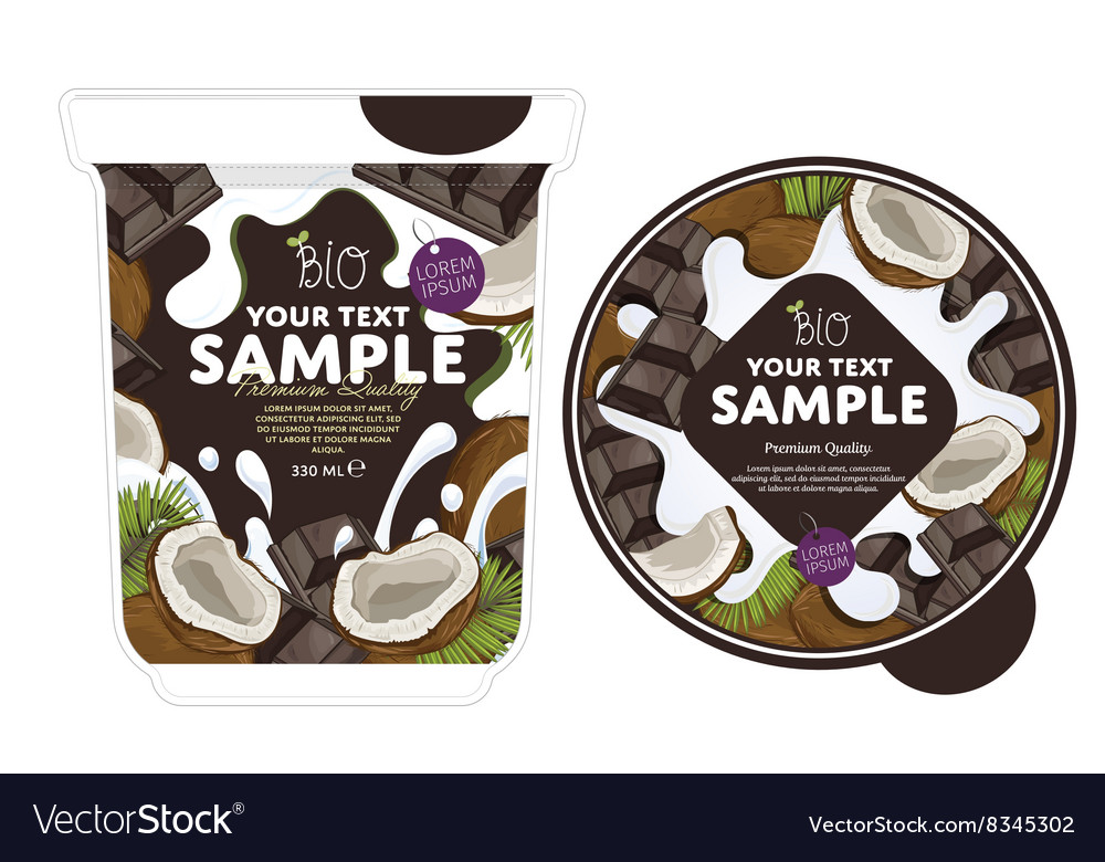 Coconut chocolate yogurt packaging design template vector