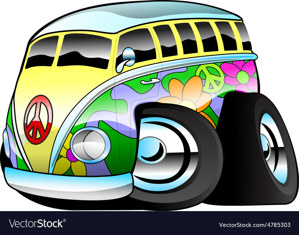 Colorful hippie surfer bus vector