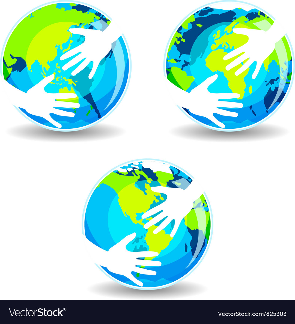 Earth in hands vector