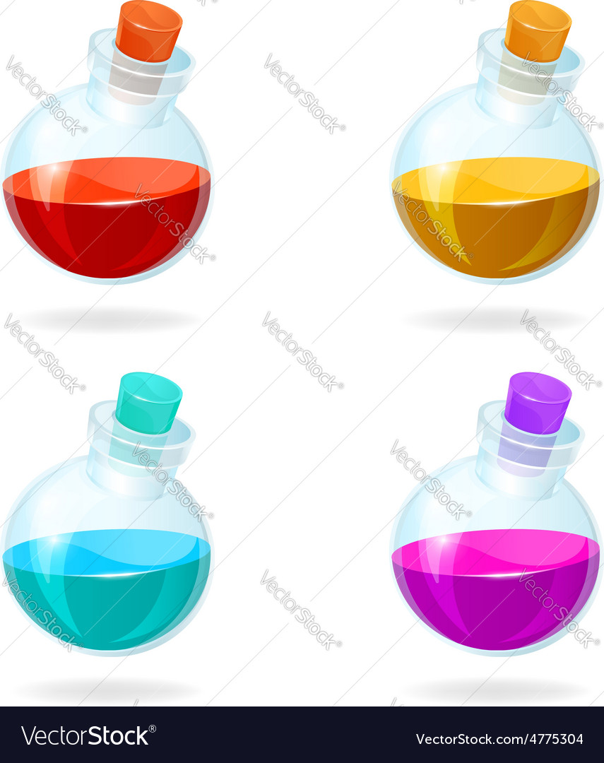 Bottles of potion icons for games vector