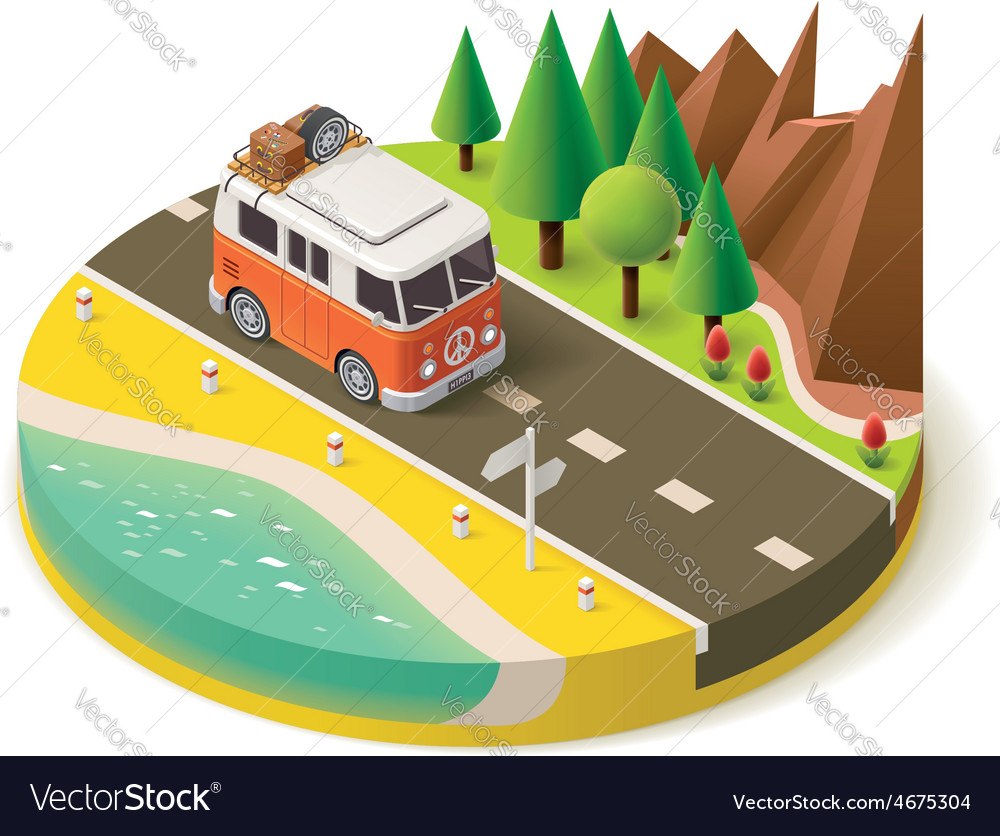 Isometric camper travel icon 2 vector