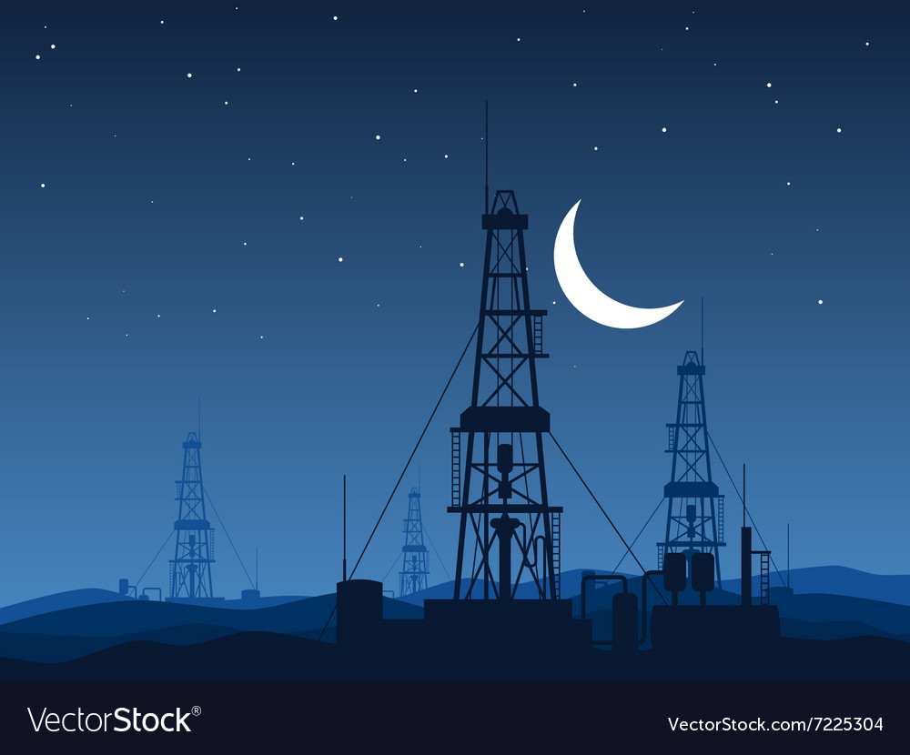 Oil and gas rigs over night desert vector