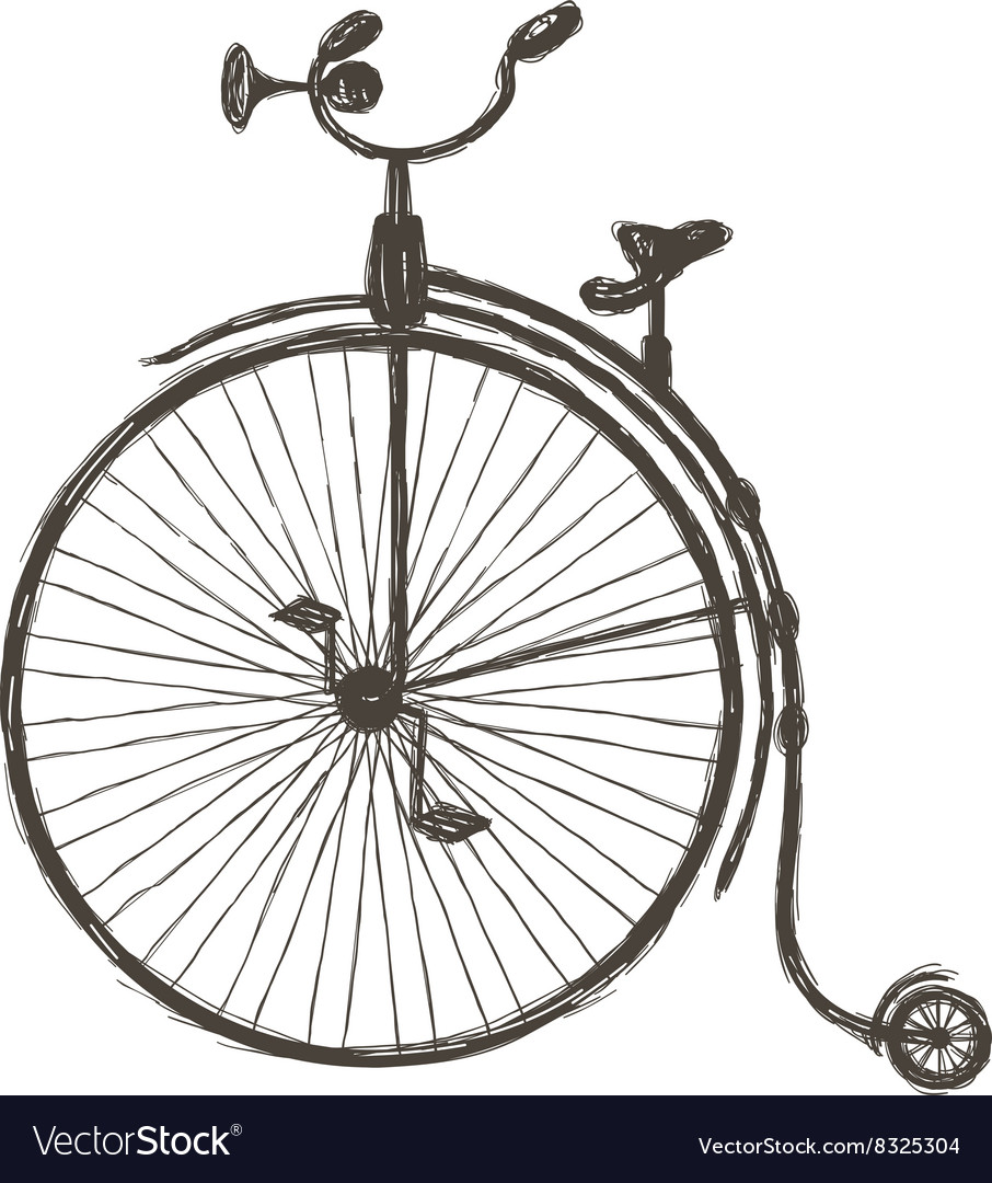 Vintage bicycle with large wheel vector