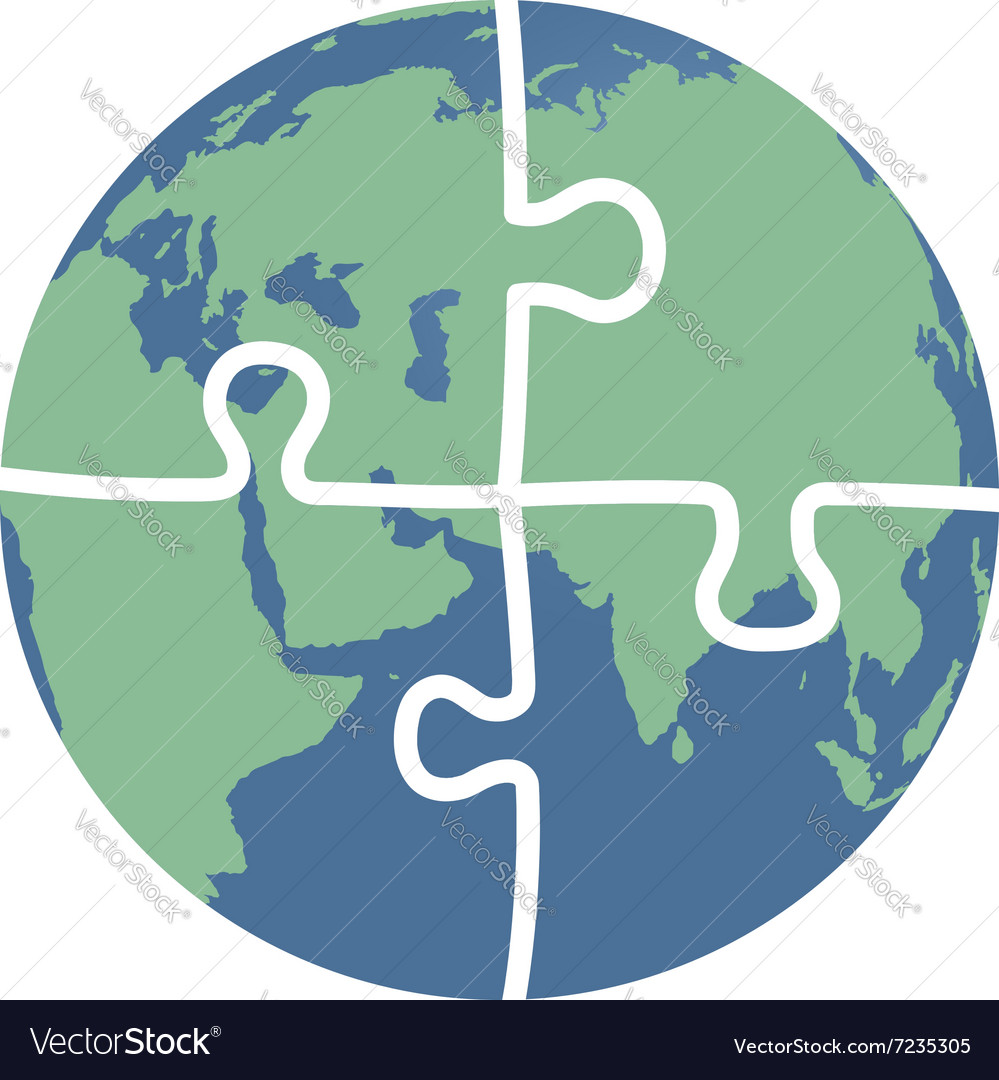 Earth puzzle vector