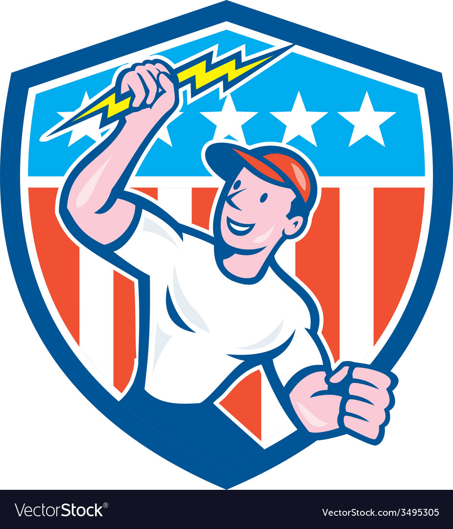 Electrician lightning bolt usa flag cartoon vector