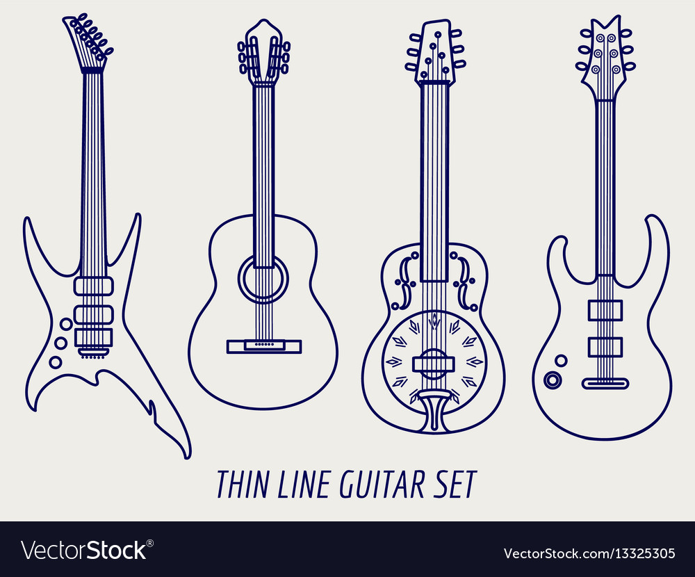 Thin line guitars on grey background vector