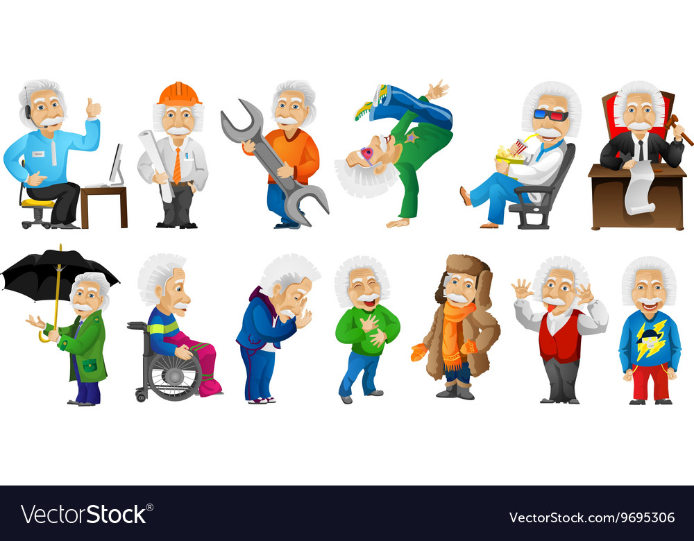 Set of grayhaired old man vector