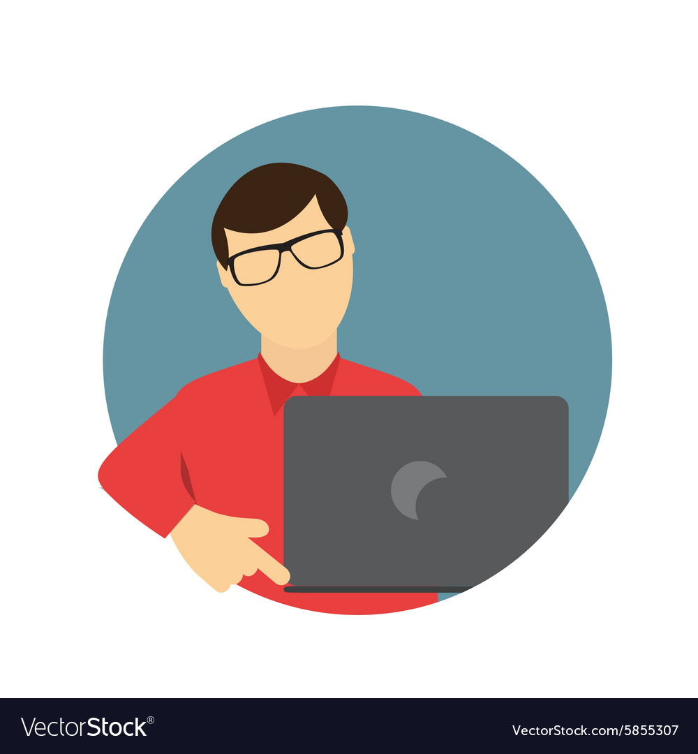 A business man wth laptop computer in trendy flat vector