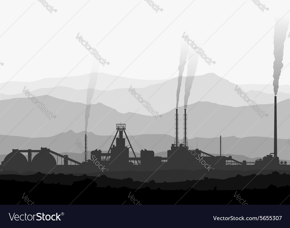 Mineral fertilizers plant over huge mountains vector
