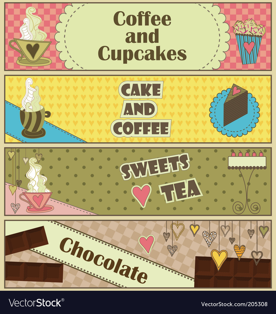 Sweet coffee and dessert banners vector