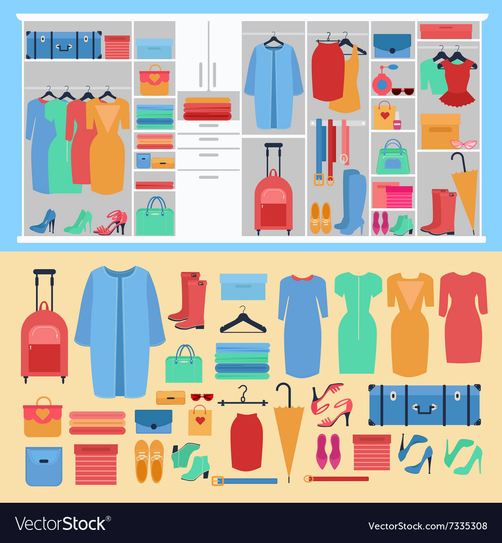 Wardrobe with womens clothing and shoes vector
