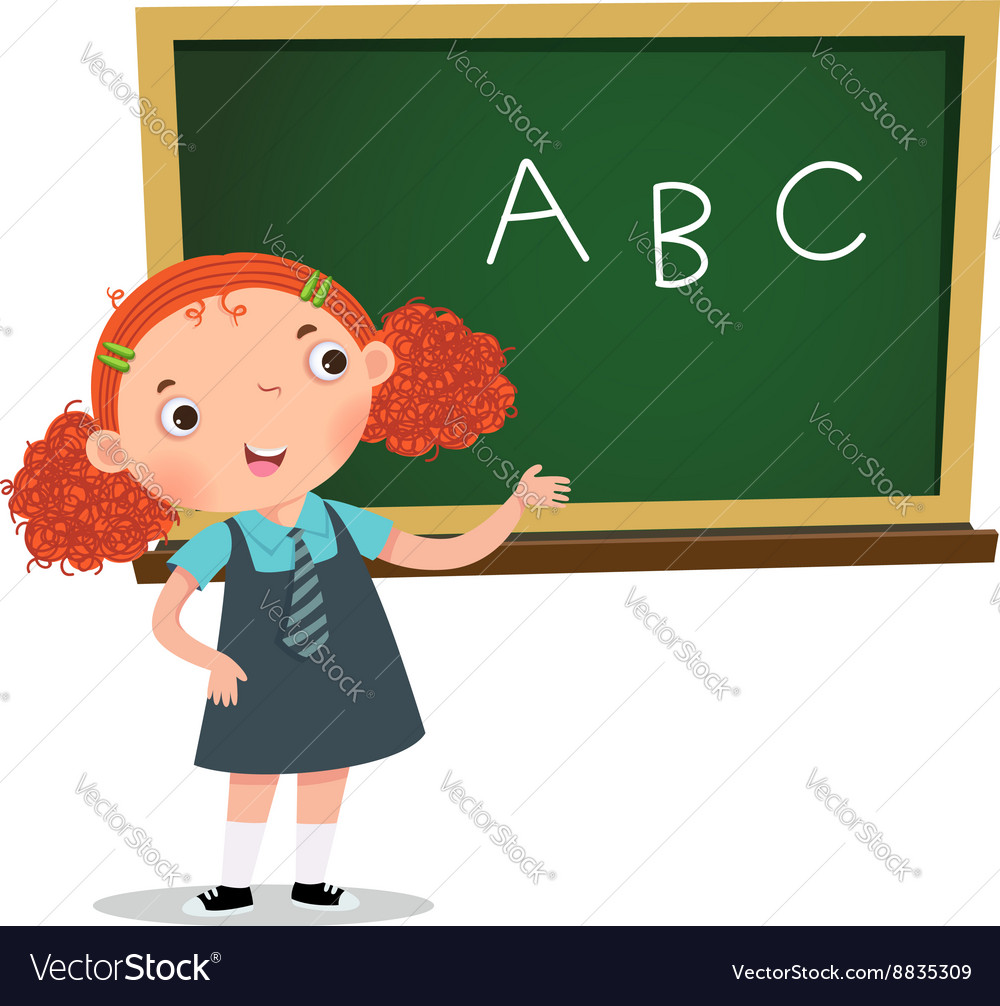 Smart girl presenting in front of blackboard vector