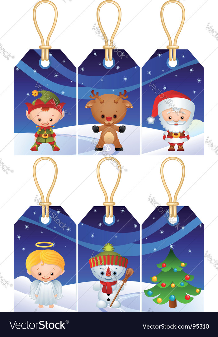 Christmas gift tags vector