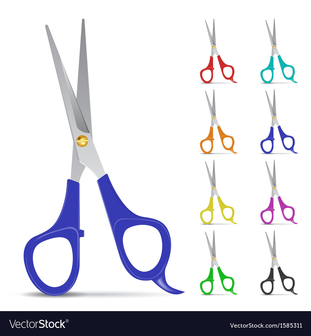 Set of scissors with colored handles vector
