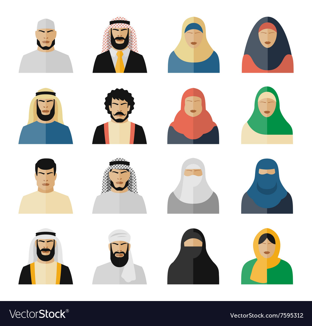 Arab people icons vector