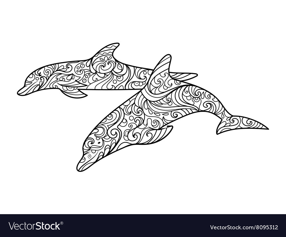 Dolphin coloring book for adults vector