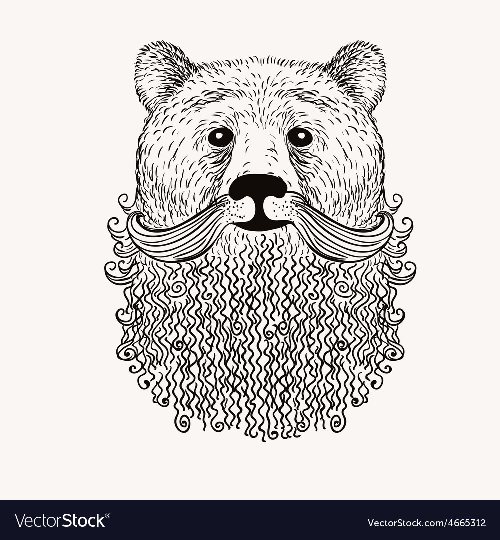 Sketch bear with a beard hand drawn doodle style vector