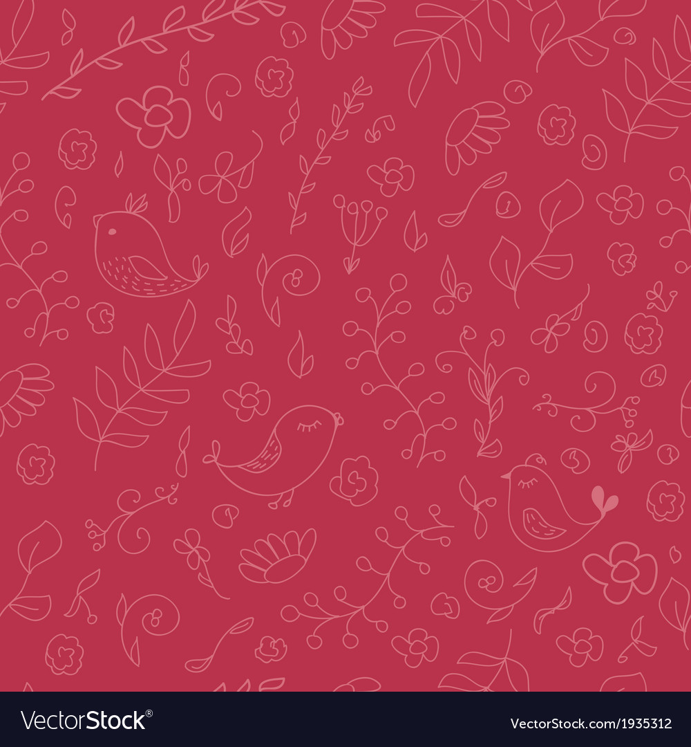 Warm colors seamless background with birds and vector