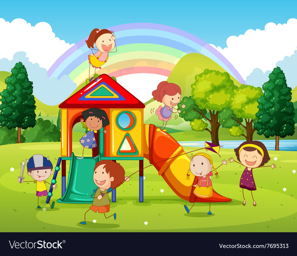 Children playing at the playground in the park vector