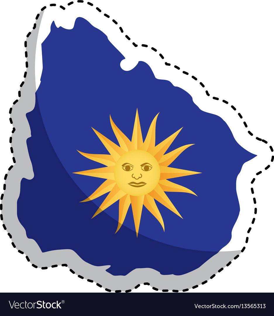 Uruguay map with sun icon vector