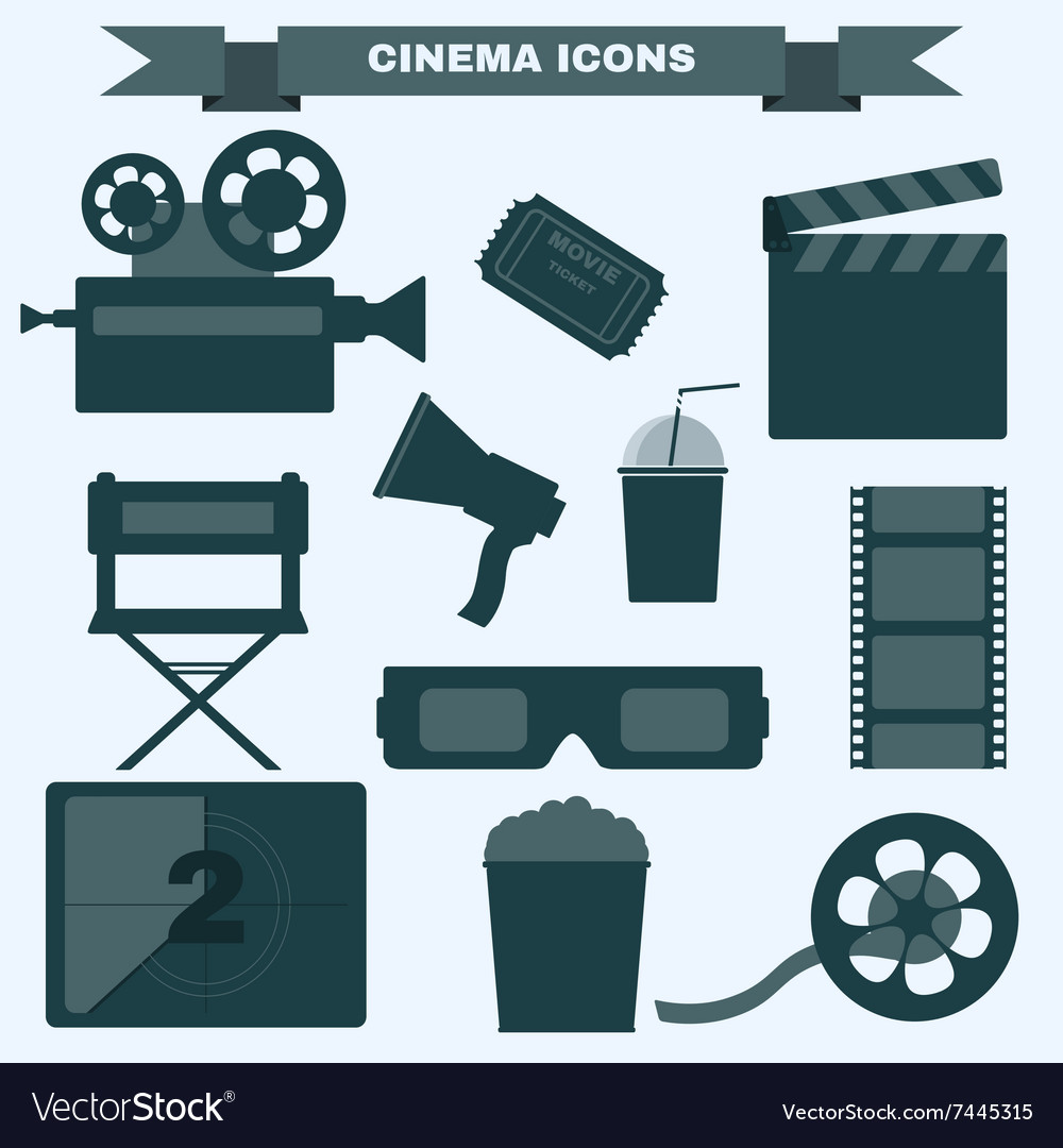 Cinema black and white icon set vector