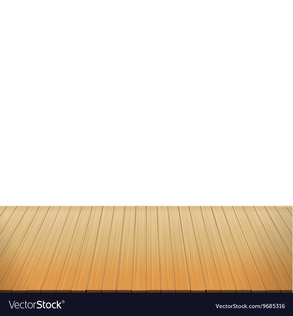 Brown wood floor on white background empty room vector