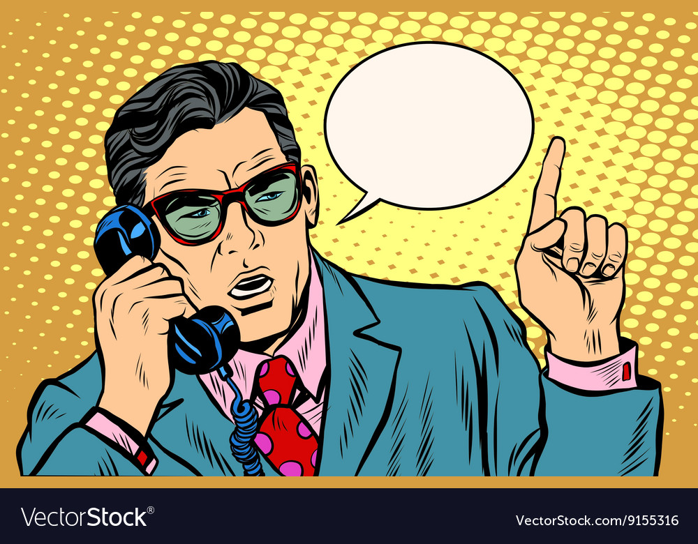 Business boss talking on the phone retro vector