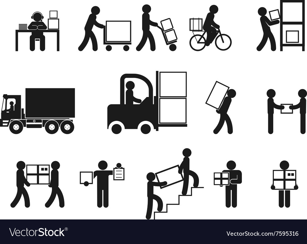 Logistic people pictograms vector