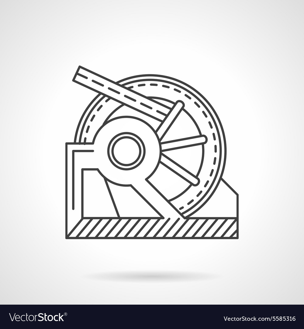 Winch mechanism line icon vector