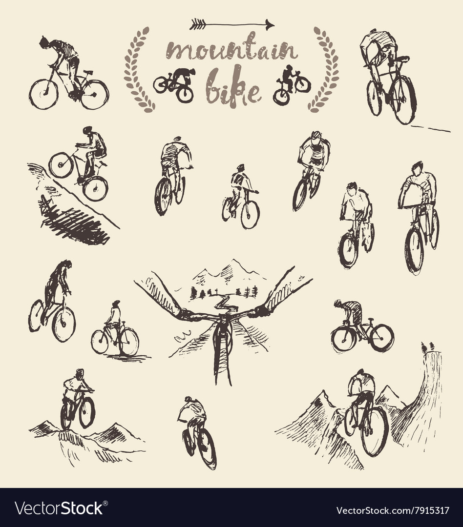 Set hand drawn mountain bike cyclist sketch vector