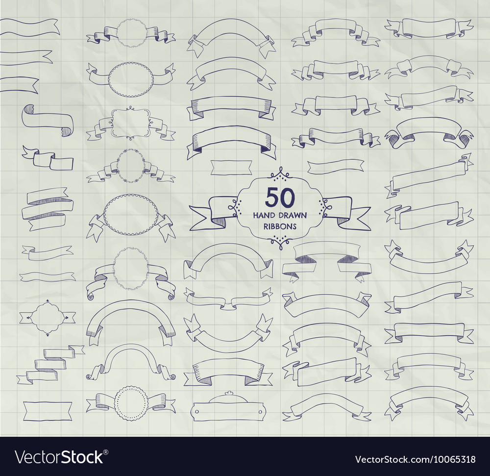 Fifty pen drawing ribbons banners frames vector
