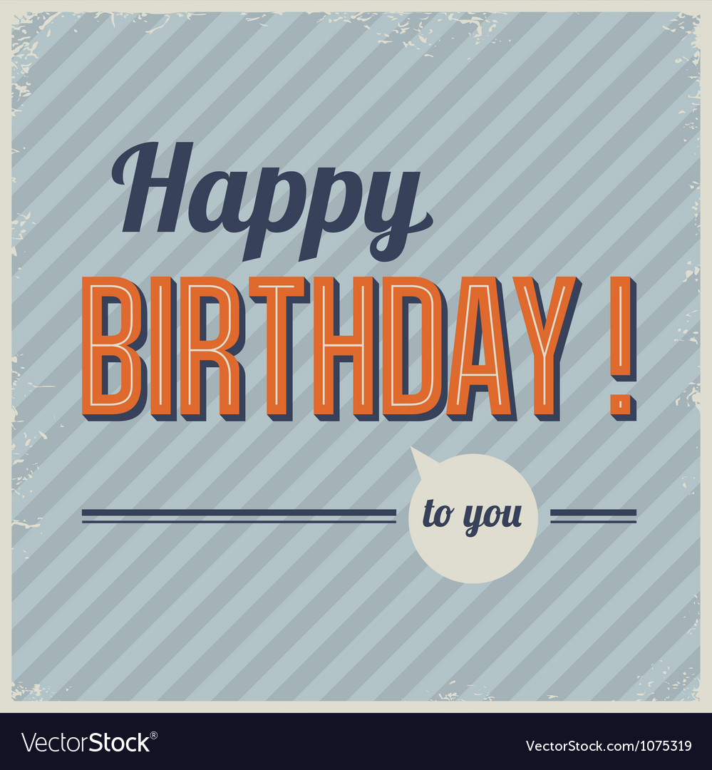 Retro vintage birthday card vector